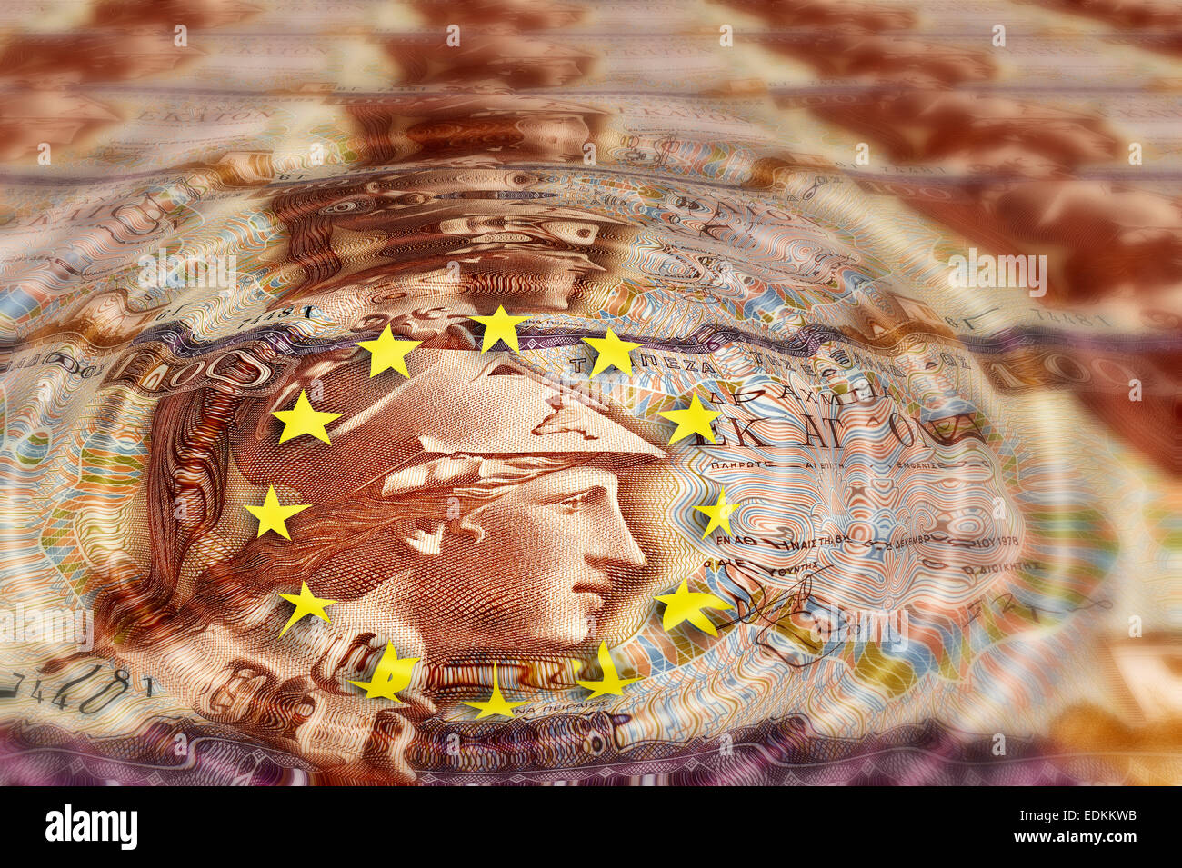 Banknote from Greece, 100 drachmas from 1978 with EU sign, symbolic image - Stock Image