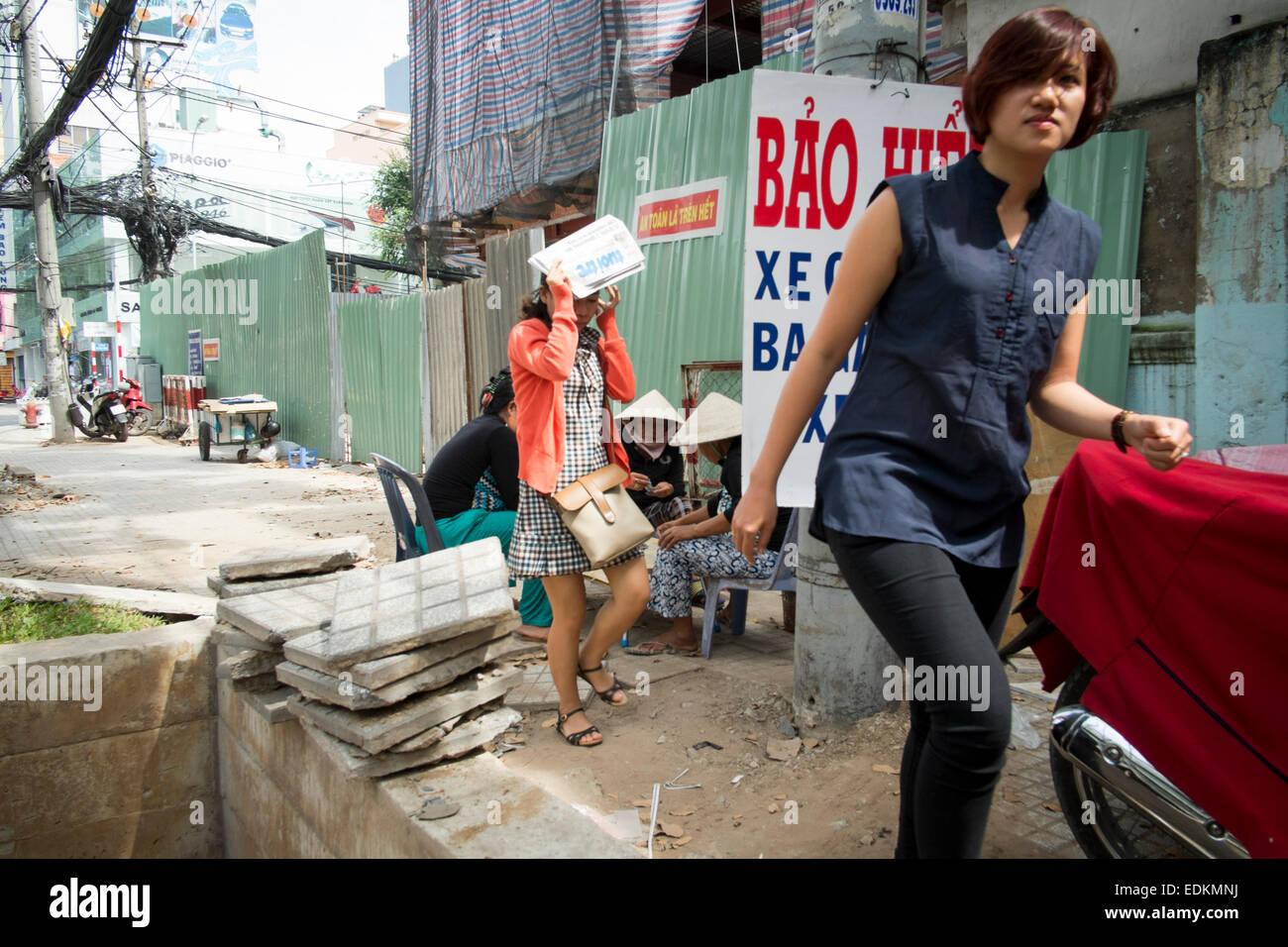 Street scene in Ho Chi Min City Vietnam - Stock Image