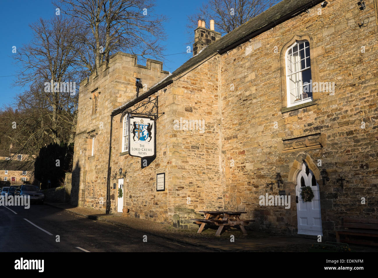 An exterior view of The Lord Crewe Arms Hotel, Pub and Restaurant in Blanchland, Northumberland, England. - Stock Image