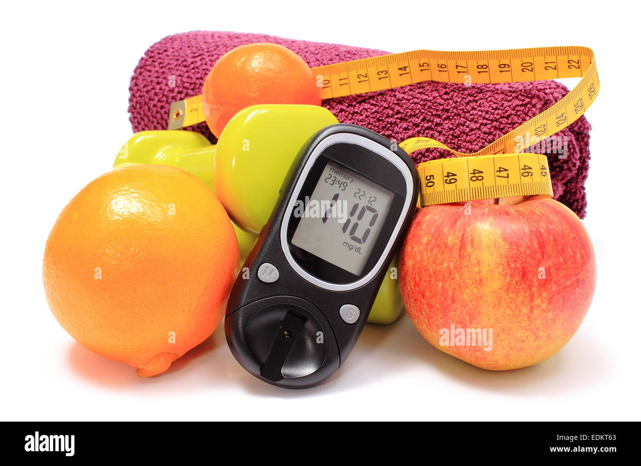 Glucometer, fresh fruits, tape measure, dumbbells and purple towel for using in fitness, concept for diabetes, slimming, - Stock Image