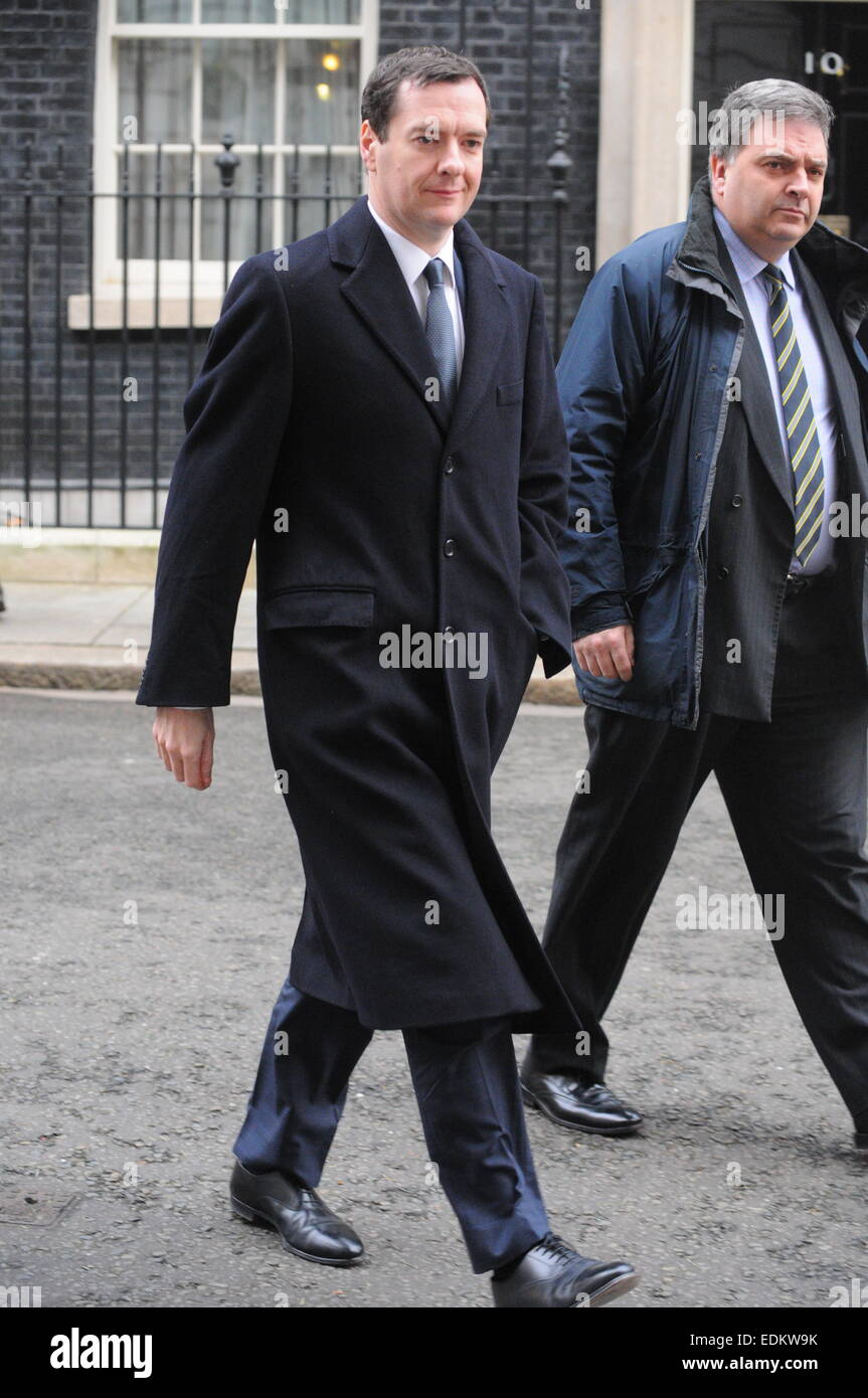 London, UK, 7 January 2015, George Osborne leaves 11 Downing street to take part in the first Question Time of 2015 - Stock Image