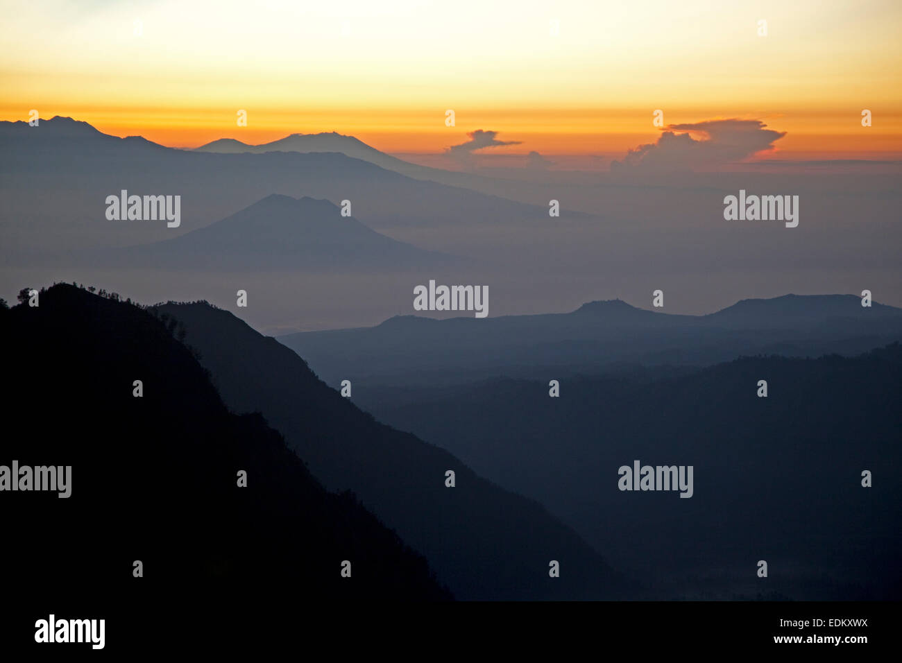 Sunrise seen from Mount Bromo / Gunung Bromo, active volcano and part of the Tengger massif, East Java, Indonesia - Stock Image