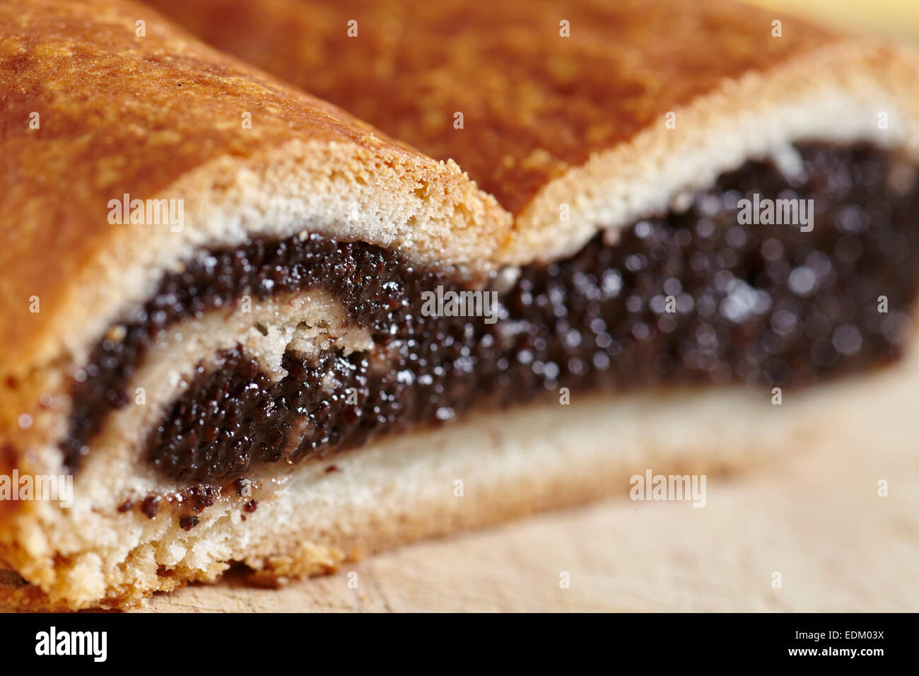 Hungarian Poppyseed roll, a traditional cake in NYC area bake shops. - Stock Image