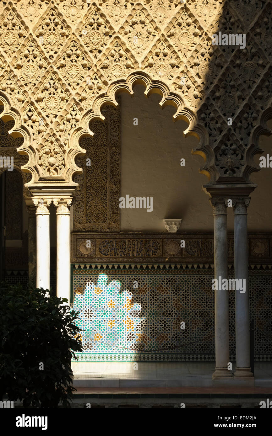 Seville Spain: Moorish architecture in the Alcazar Stock Photo