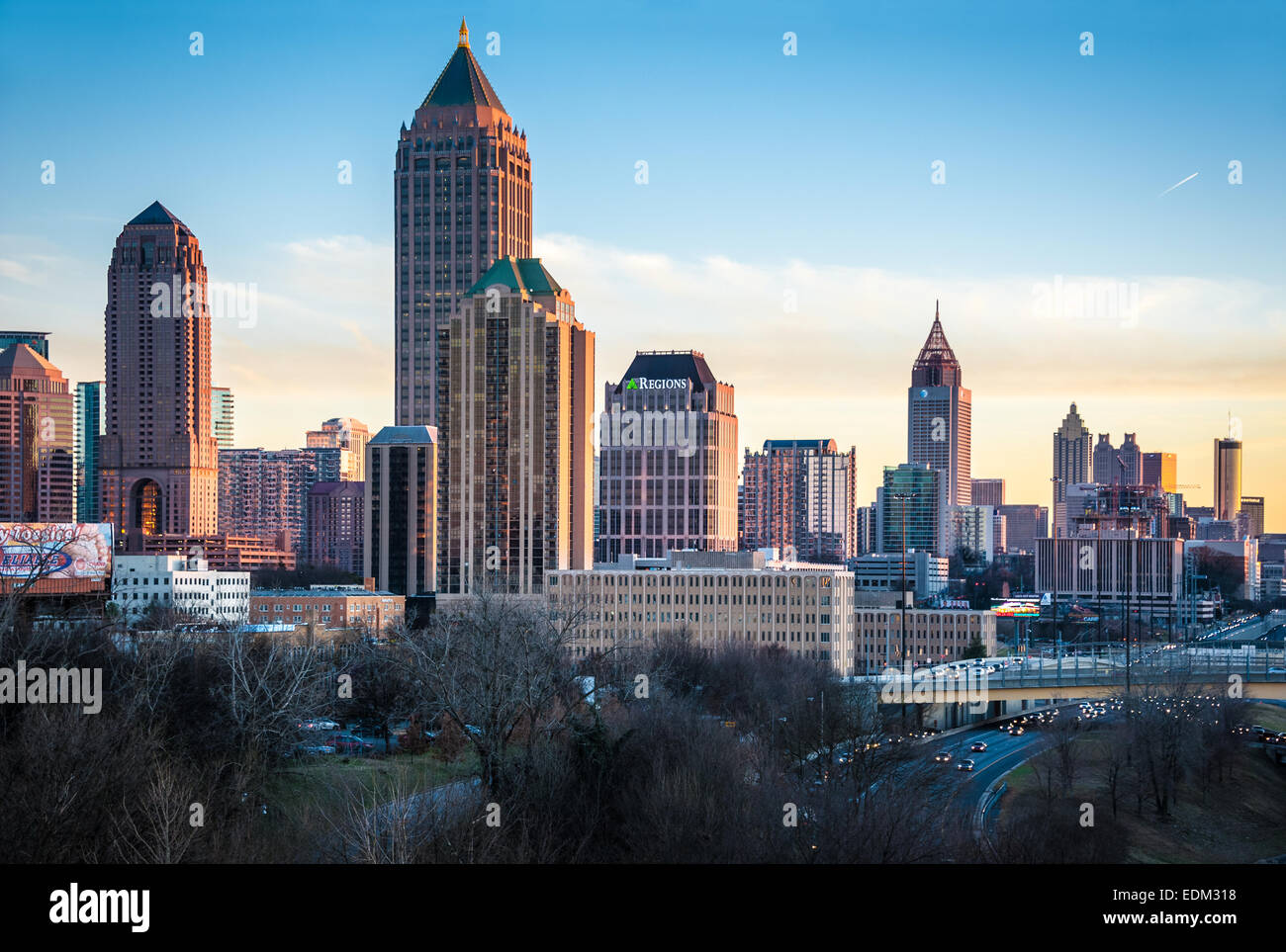 Atlanta, Georgia skyline at sunset. - Stock Image