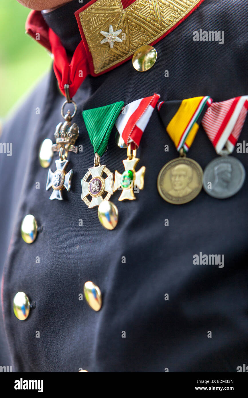 Decorations and medals, uniform Austro-Hungarian soldier - Stock Image