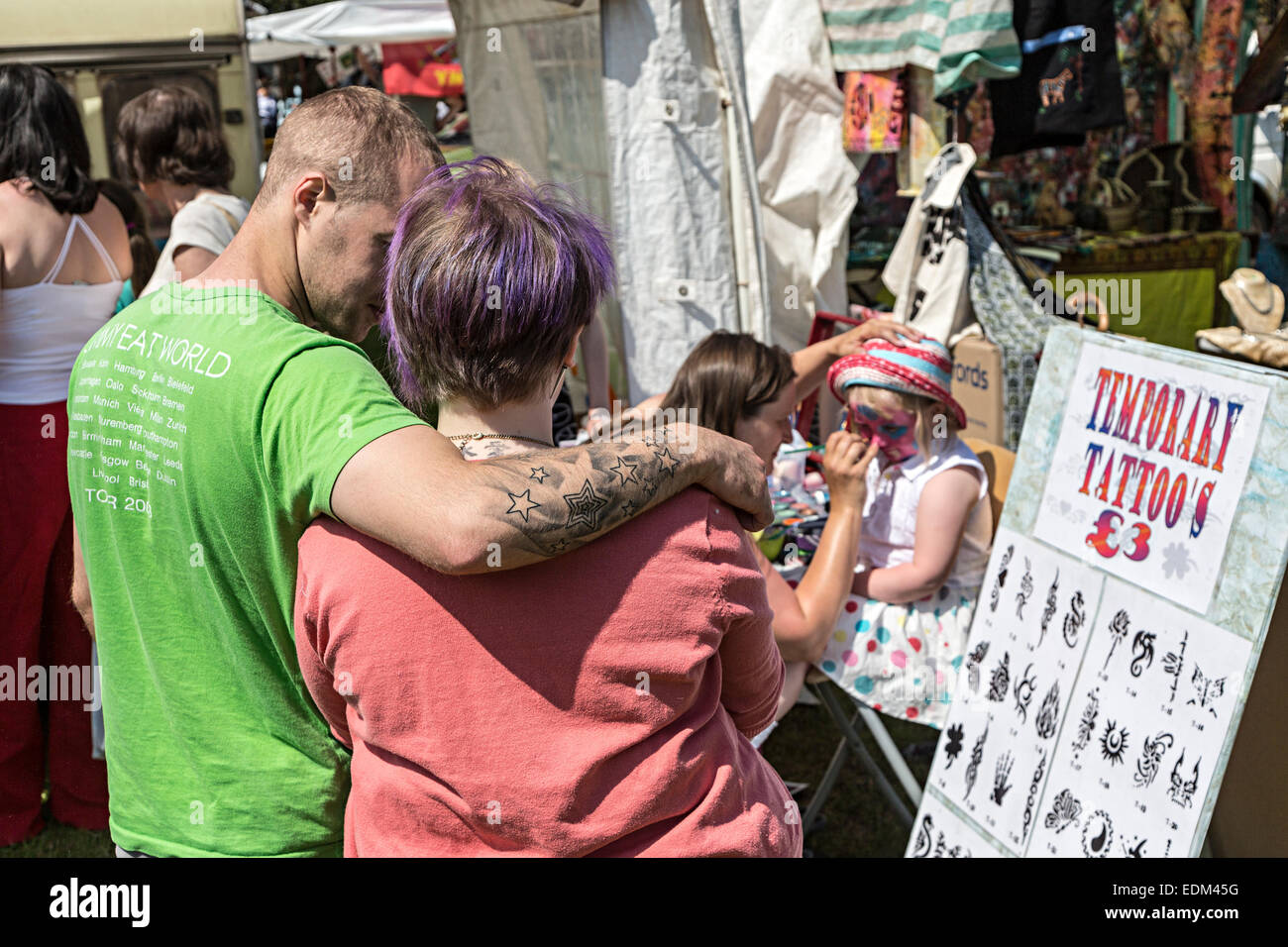 Face painting and temporary tatoos stand at fair, Steam Rally, Abergavenny, Wales, UK - Stock Image