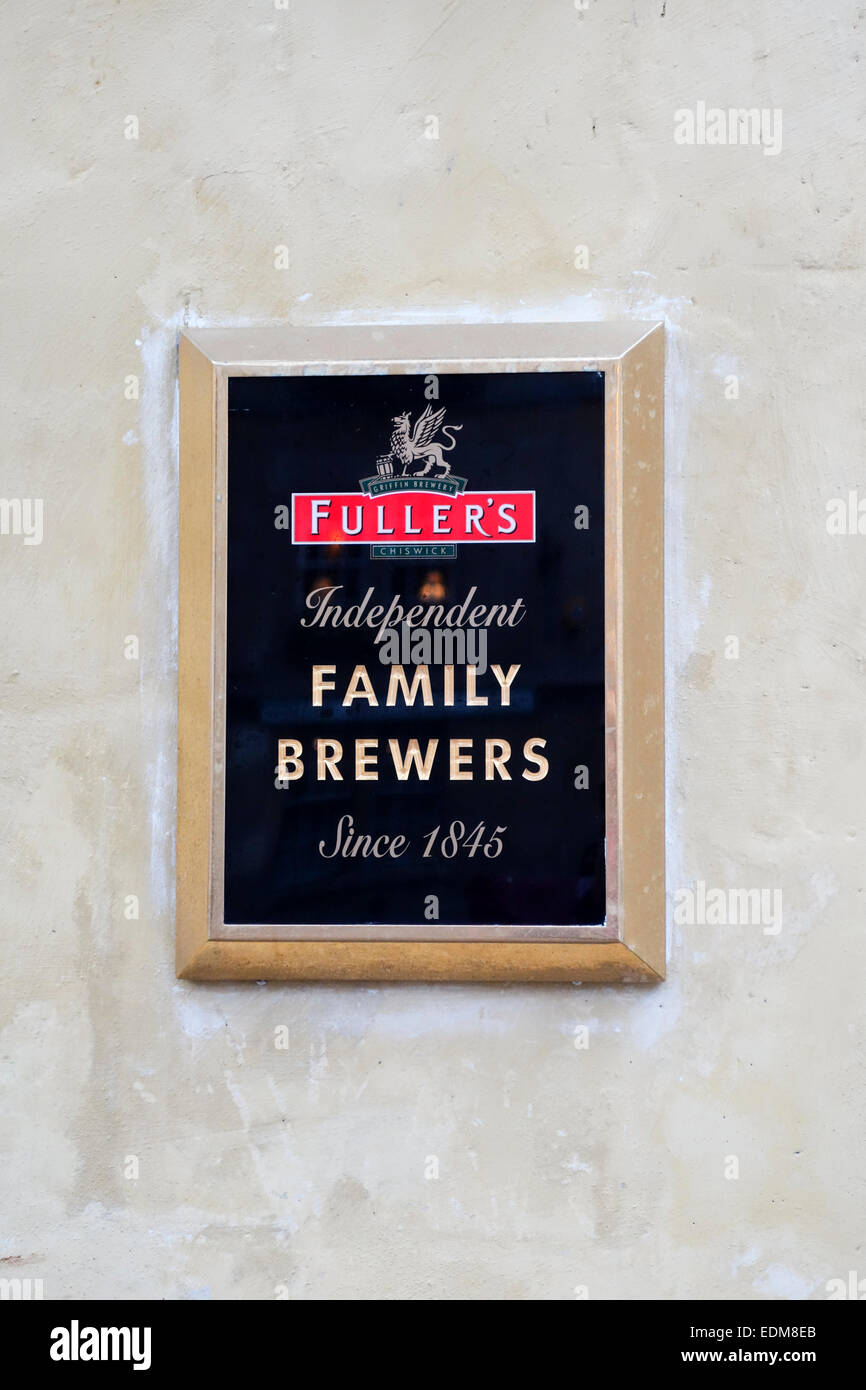 Fullers Independent Family Brewers Since 1845 plaque outside a pub in Bath, - Stock Image