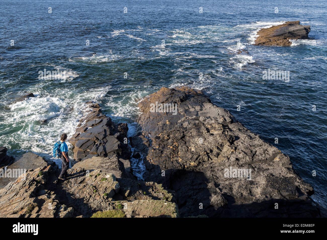 Headland at Mal Bay, Co. Clare on the west coast of Ireland - Stock Image