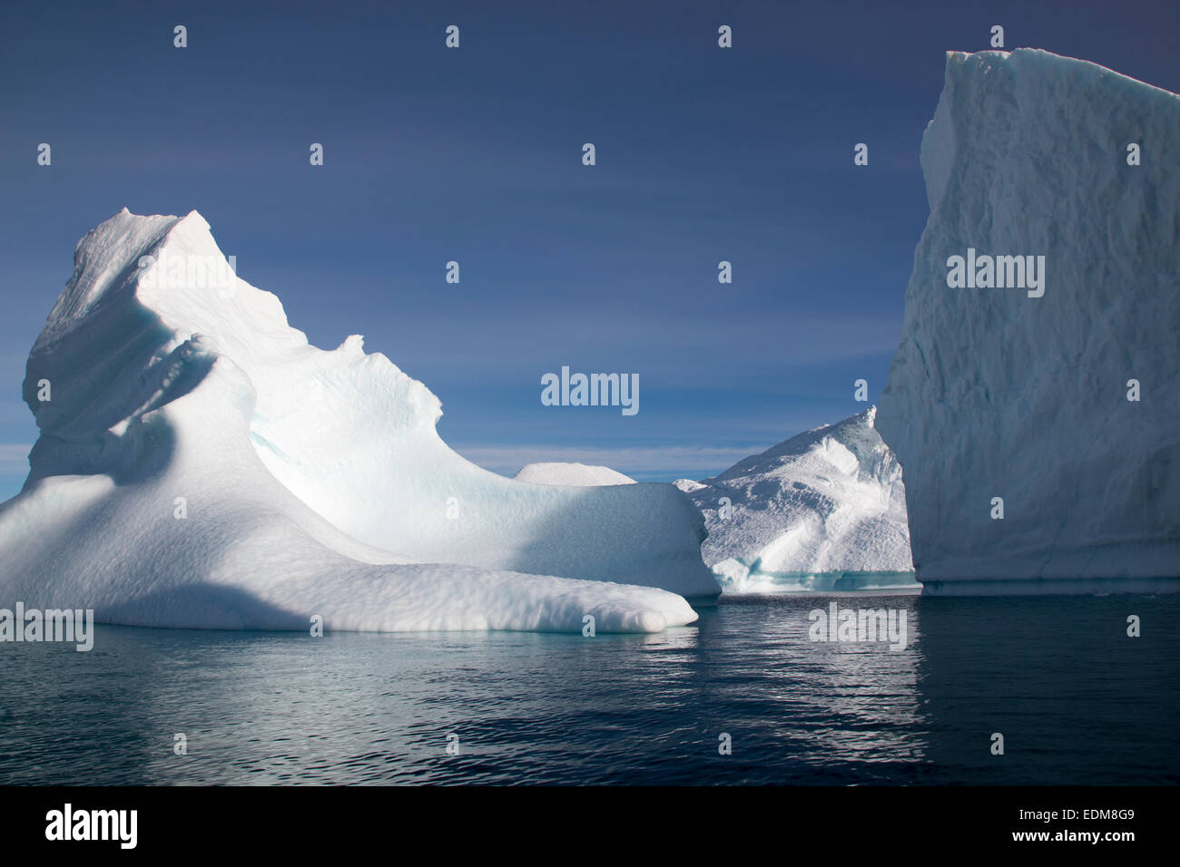 Icebergs in Scoresby Sund, East Greenland. - Stock Image