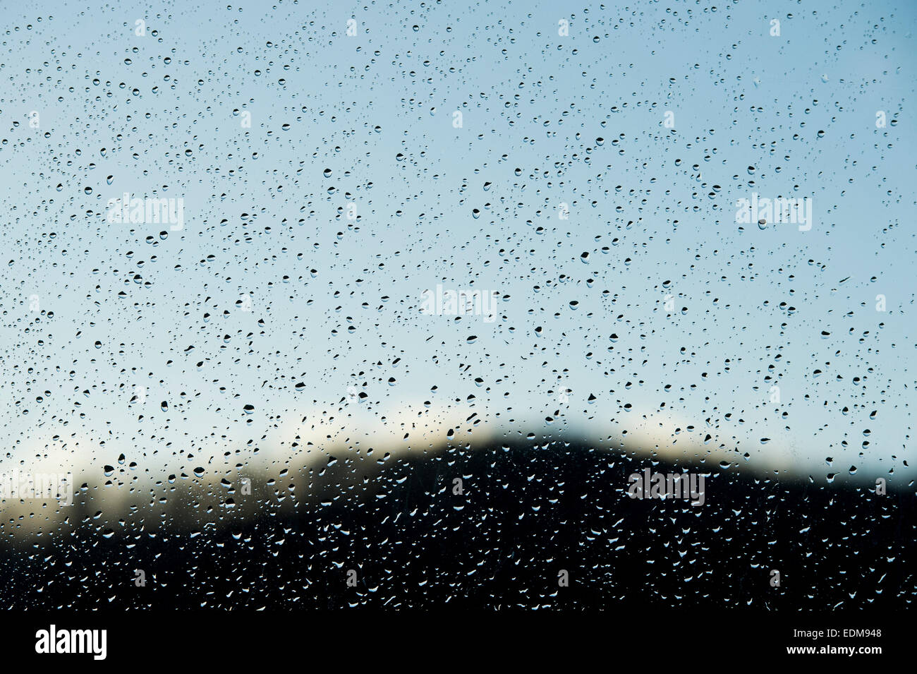 Raindrops on a window pane - Stock Image