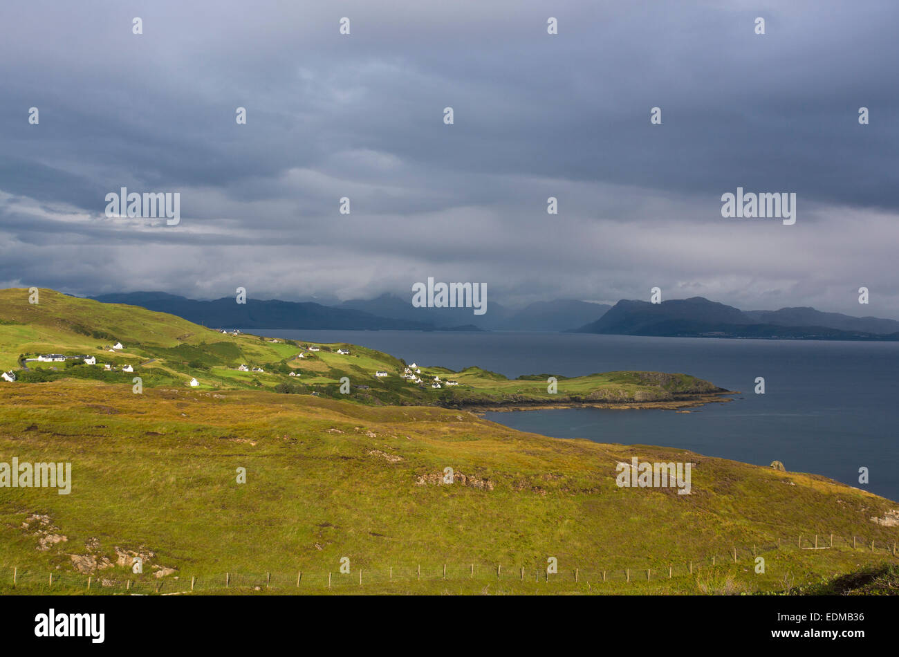 houses and cottages by sound of sleat isle of skye - Stock Image