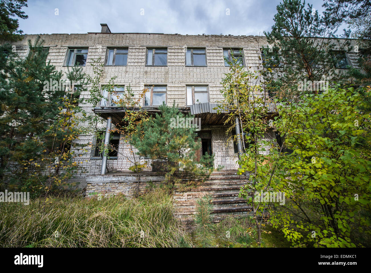 one of buildings of Chernobyl-2 military base next to Duga-3 Soviet radar system, Chernobyl Exclusion Zone, Ukraine - Stock Image