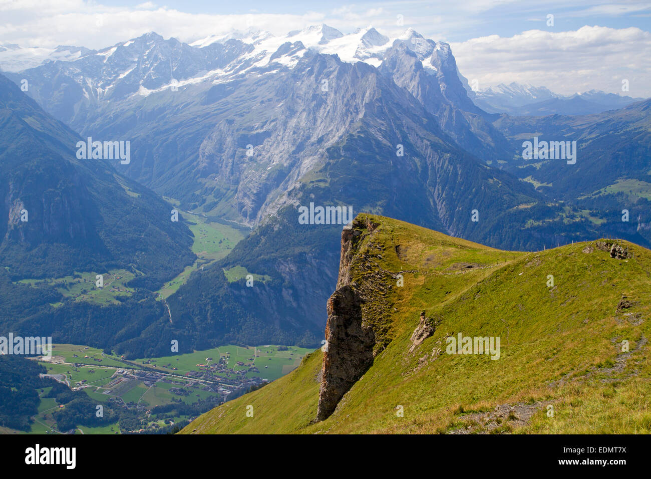 View over the Aare Valley to the Wetterhorn - Stock Image