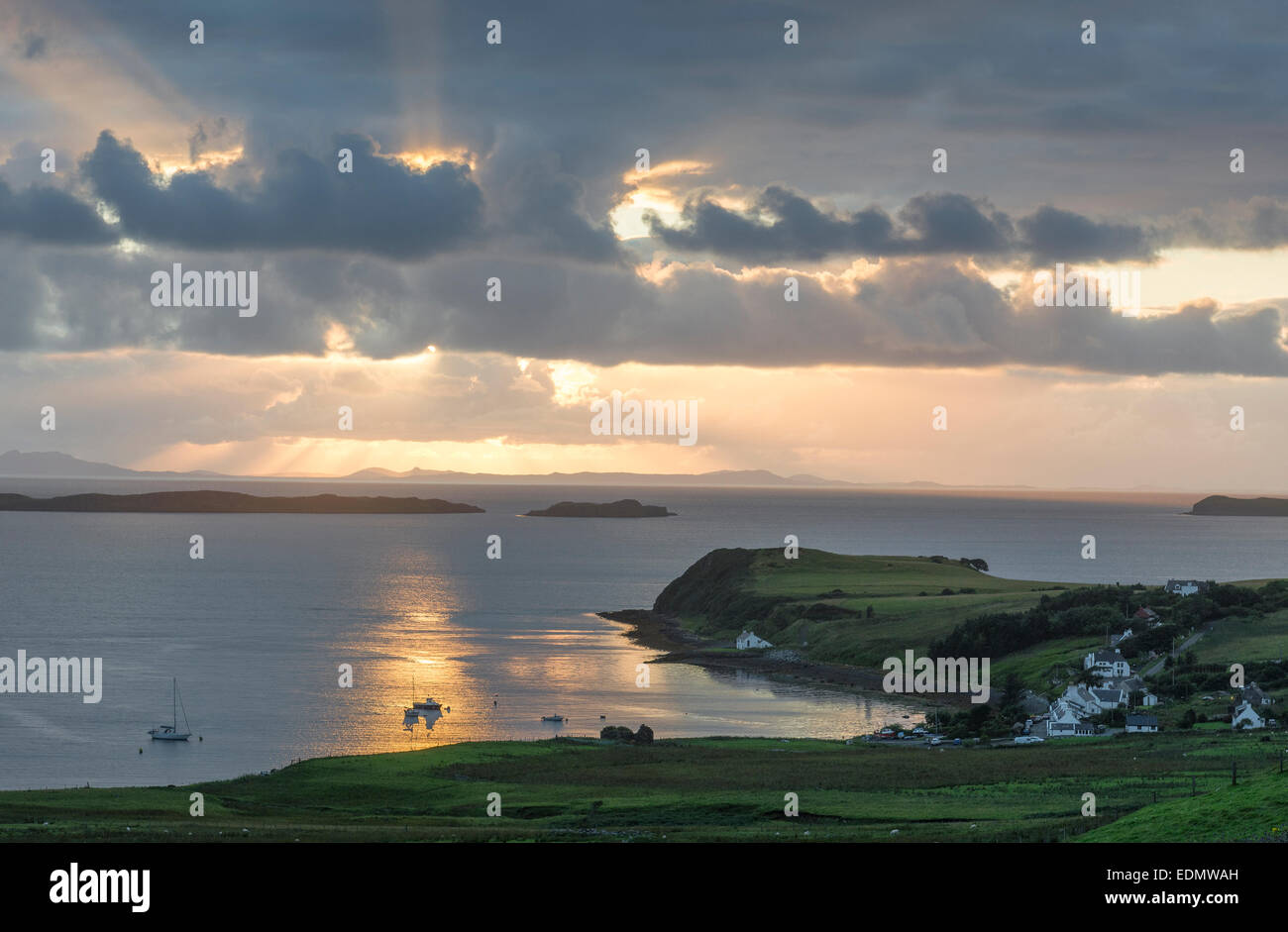 sunset at stein waternish peninsula skye - Stock Image