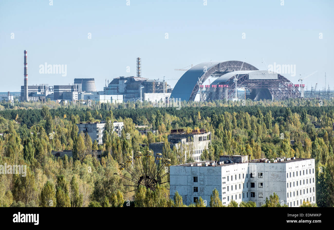 old and new construction called sarcophagus covering the nuclear reactor no. 4 in Chernobyl Nuclear Power Plant, - Stock Image