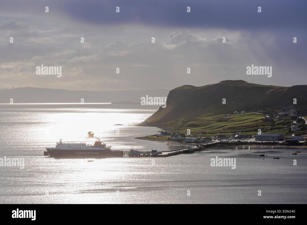 beautiful hebridean light at uig skye with calmac ferry - Stock Image