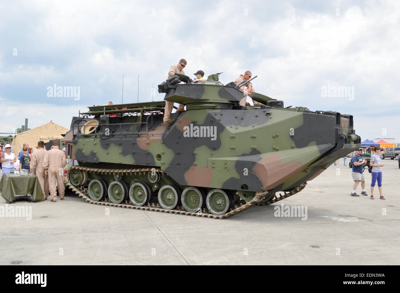 A AAV-7 armored amphibious assault vehicle. Stock Photo
