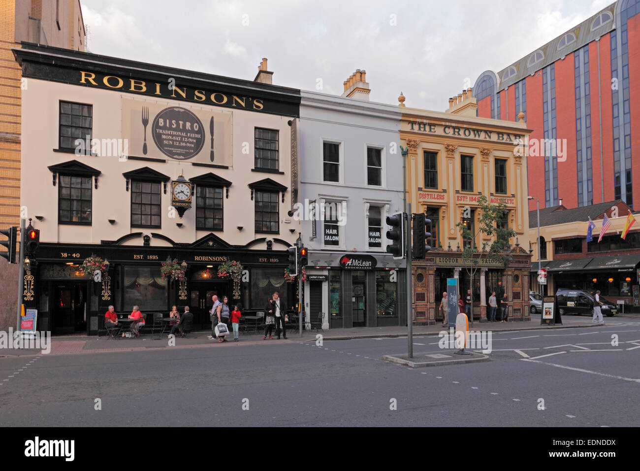 The Crown Bar and pub Robinson's in the Great Victoria Street in Belfast;  The Liquor Crown Saloon, Northern - Stock Image