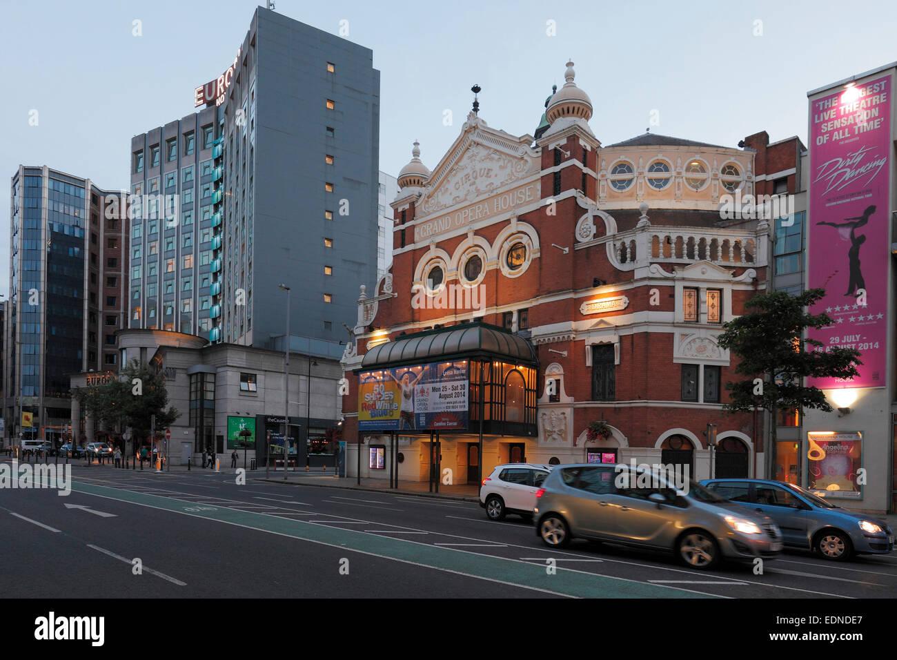 Belfast Grand Opera House and Europa Hotel, Great Victoria Street, Belfast, Northern Ireland - Stock Image