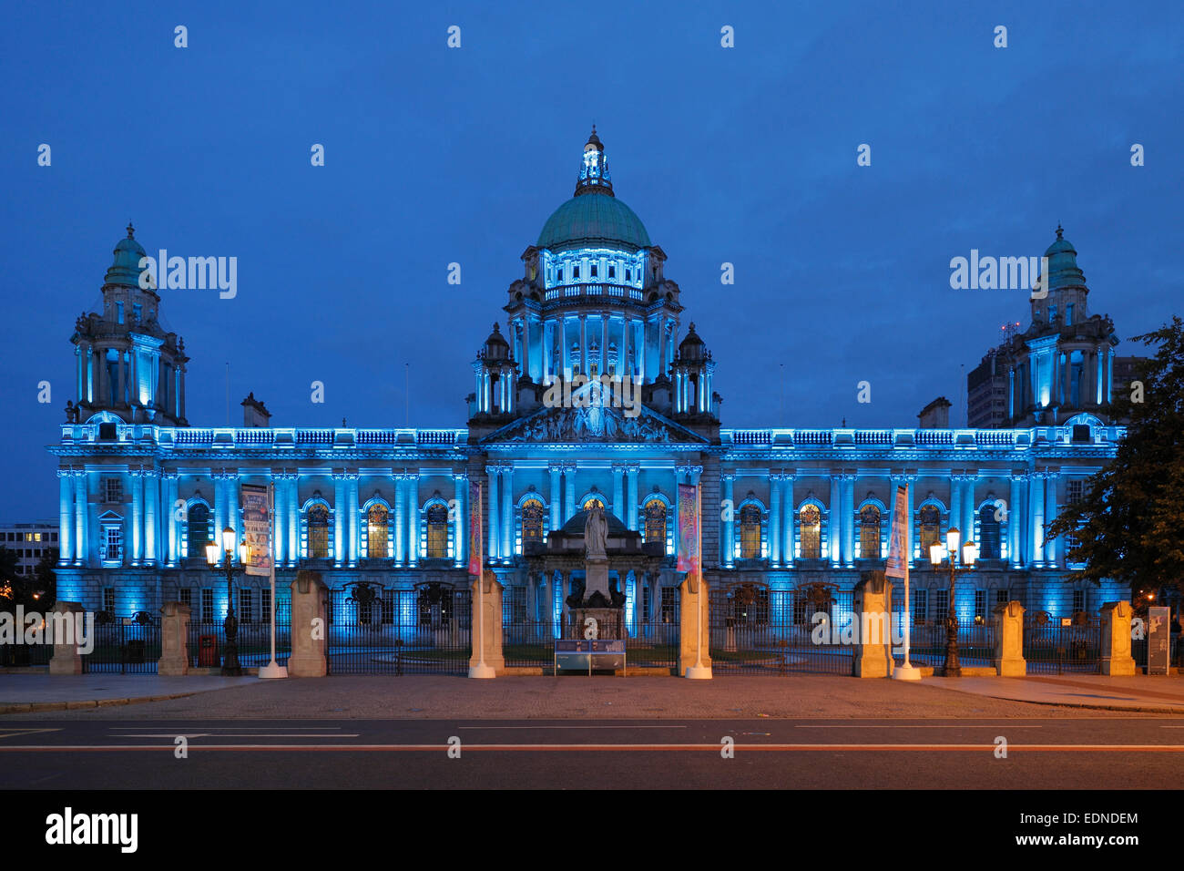 City Hall in Belfast at dusk, Northern Ireland - Stock Image