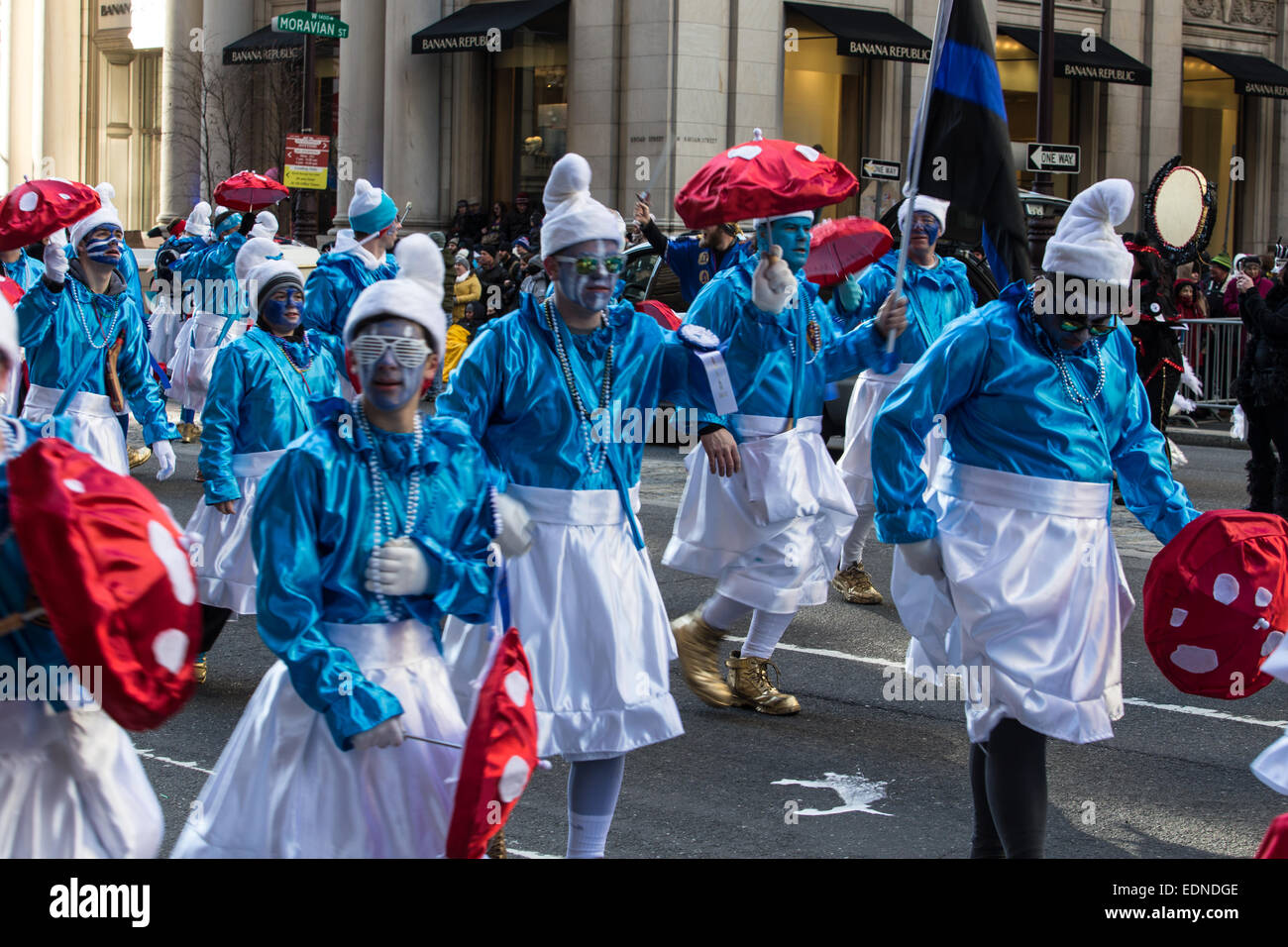 Elaborate cosyums are worn by Mummers in the annual parade. - Stock Image