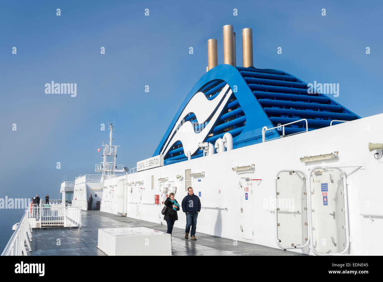 Upper deck and funnel of B.C. Ferry Coastal Celebration - Stock Image