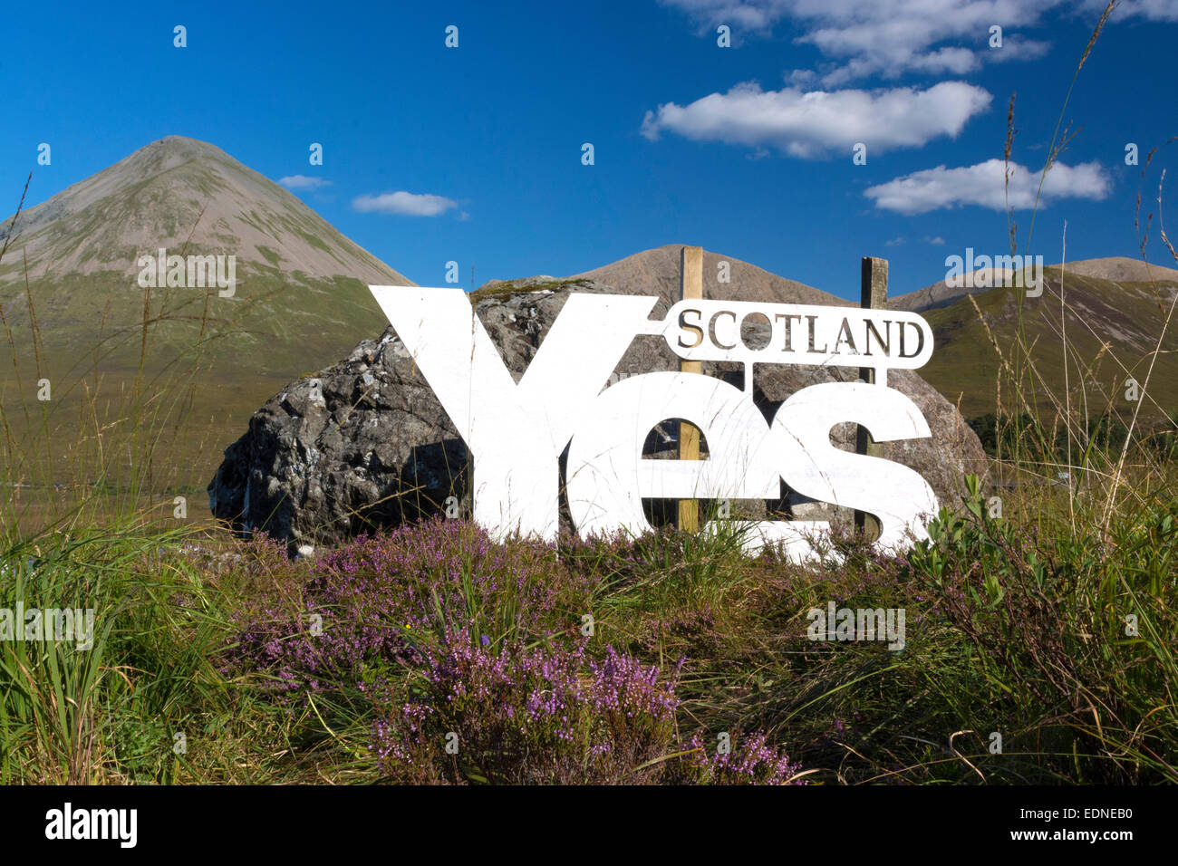 YES campaign sign sligachan - Stock Image