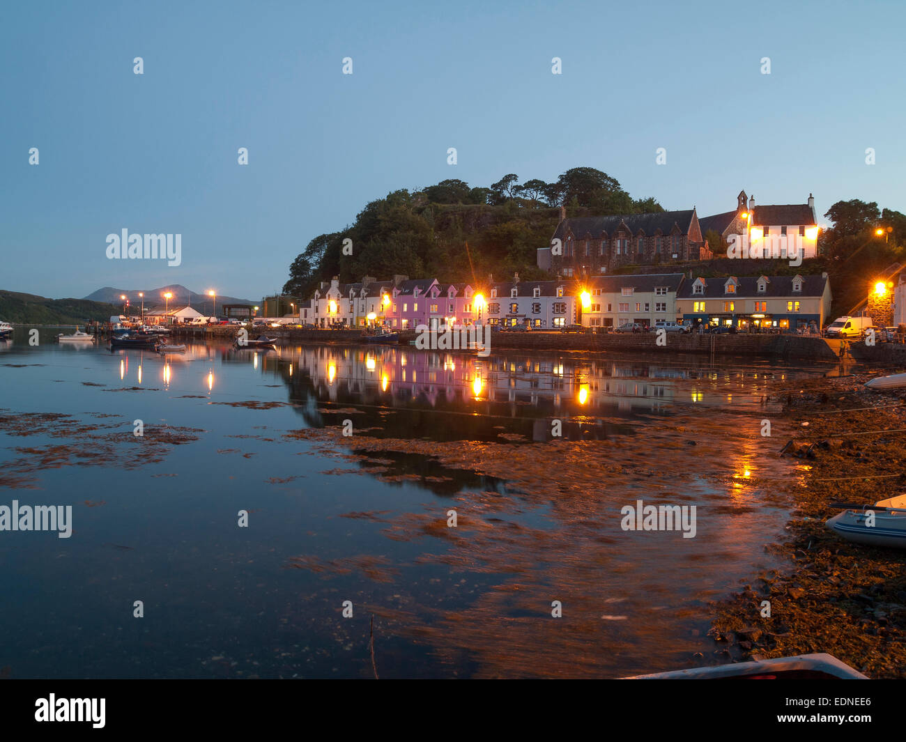 dusk at portree harbour skye - Stock Image