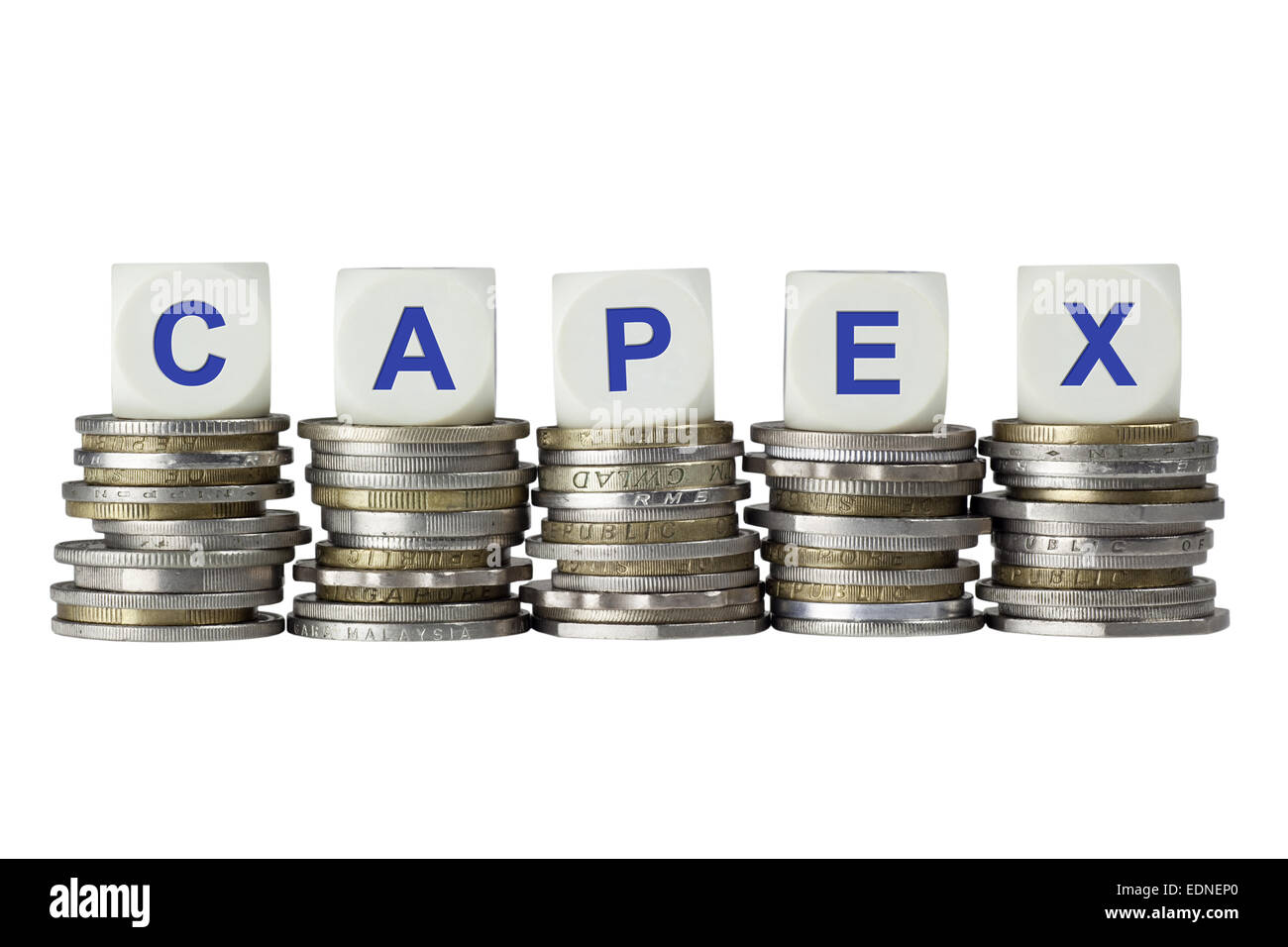 Stacks of coins with the letters CAPEX isolated on white background Stock Photo