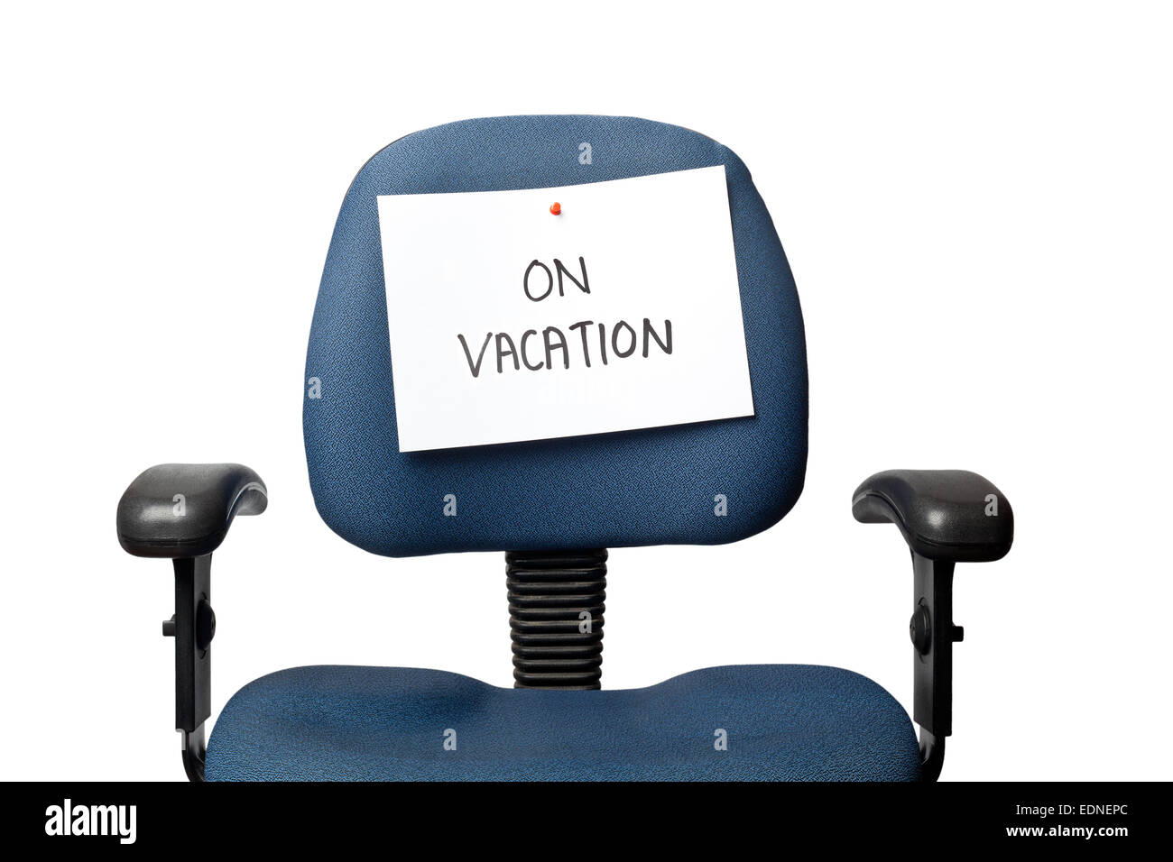 Office Chair With A ON VACATION Sign Isolated On White Background