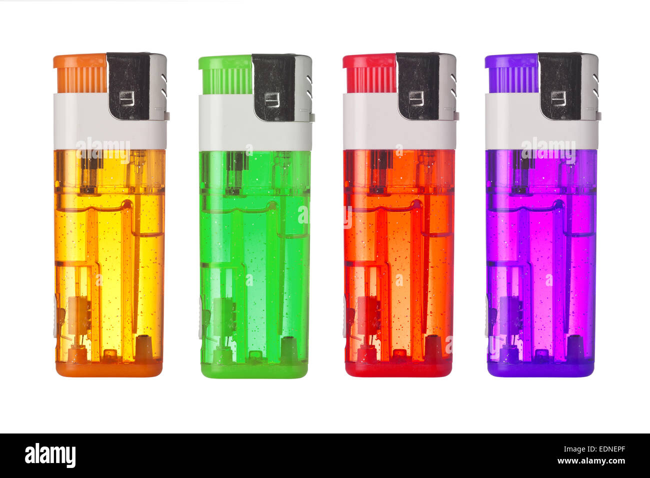 Four colorful lighters isolated on white background - Stock Image