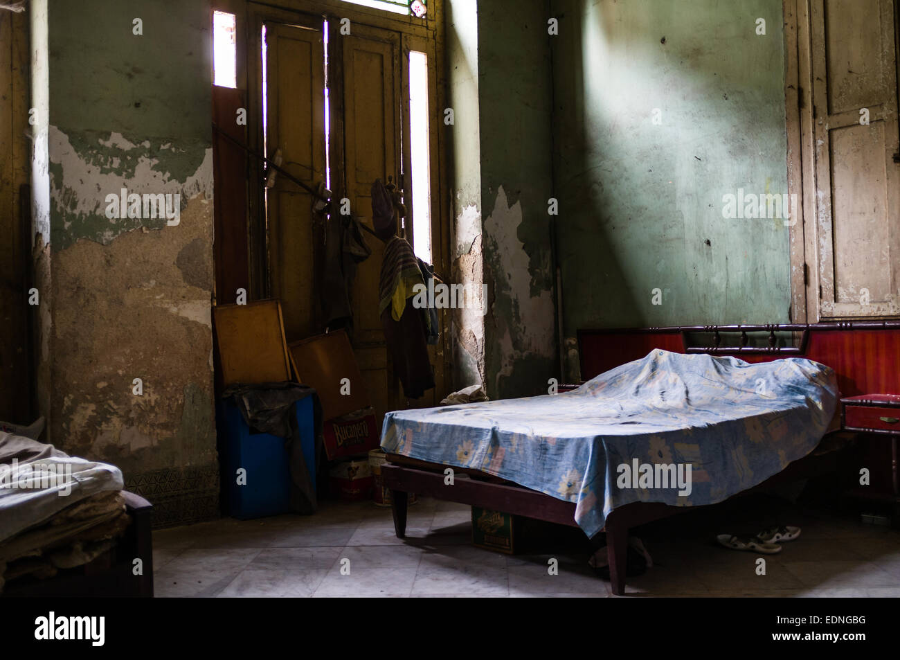 Cuba Street Archive. Cuban bedroom, old Havana. - Stock Image