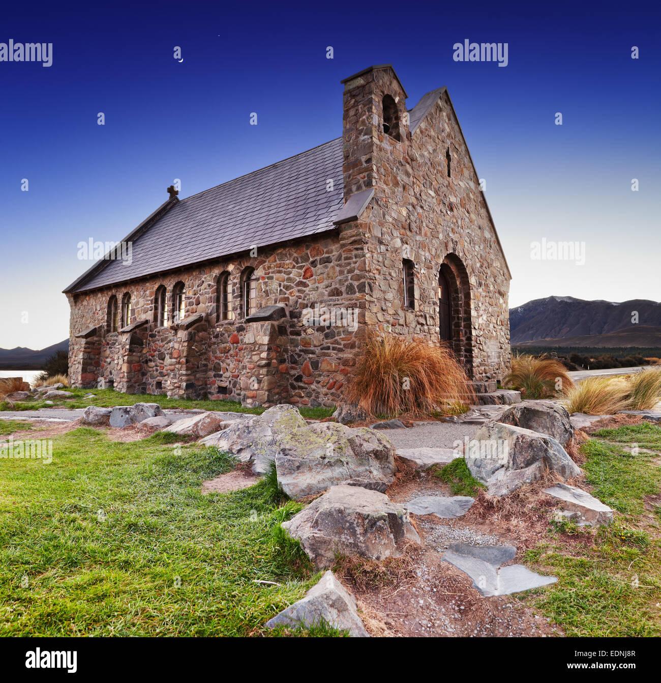 Church of the Good Shepherd at sunrise, Lake Tekapo, New Zealand - Stock Image