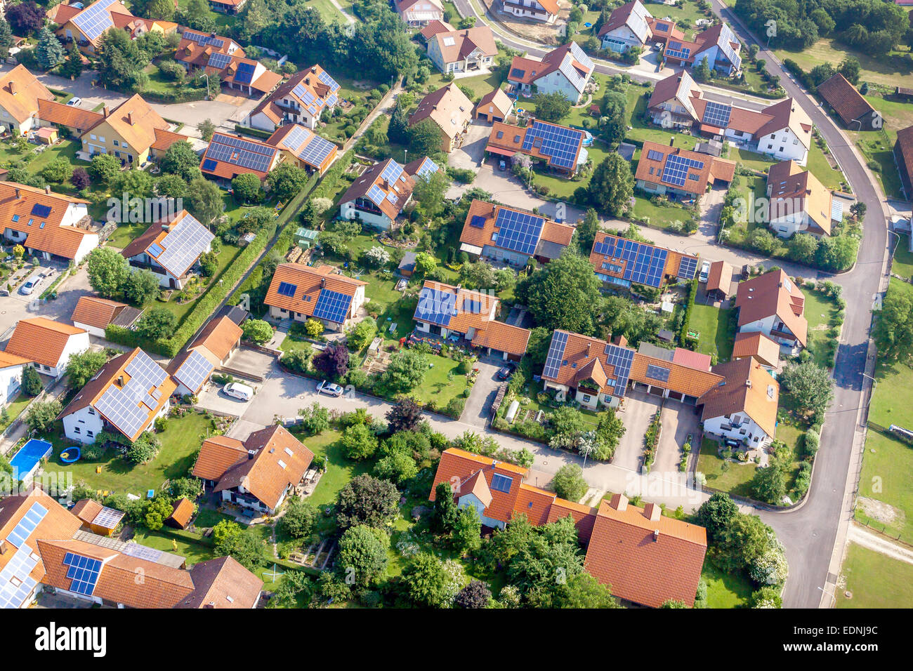 Aerial View New Housing Estate With Photovoltaic Panels