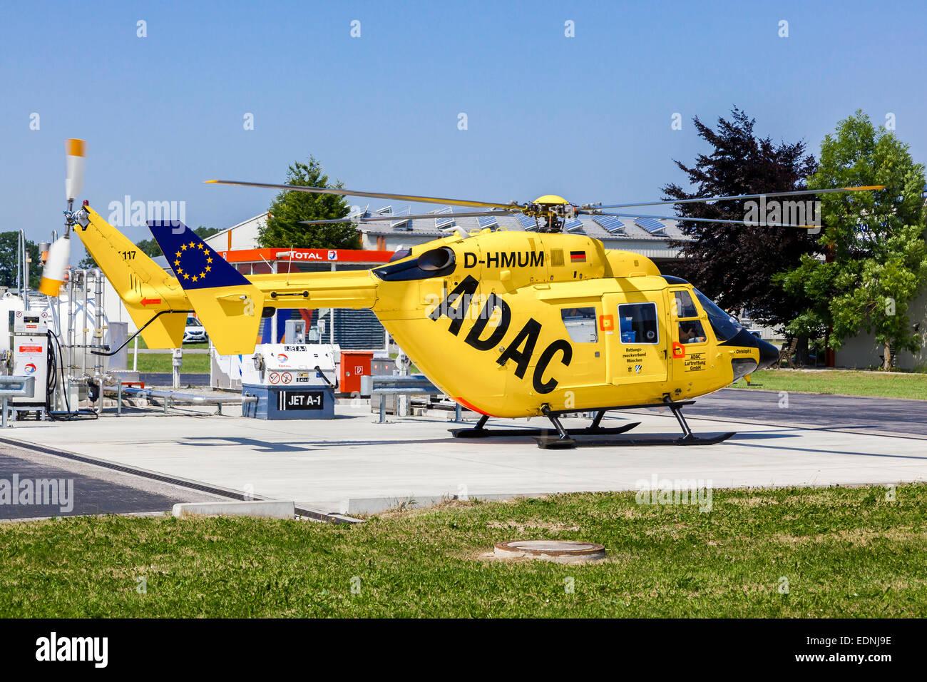 ADAC rescue helicopter Christoph 1 at the refuelling station at Landshut-Ellermühle Airport, Landshut, Bavaria, - Stock Image