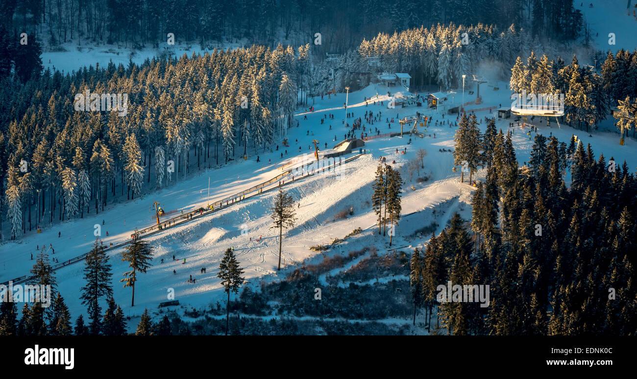 aerial view, ski resort, winterberg, hochsauerland district stock