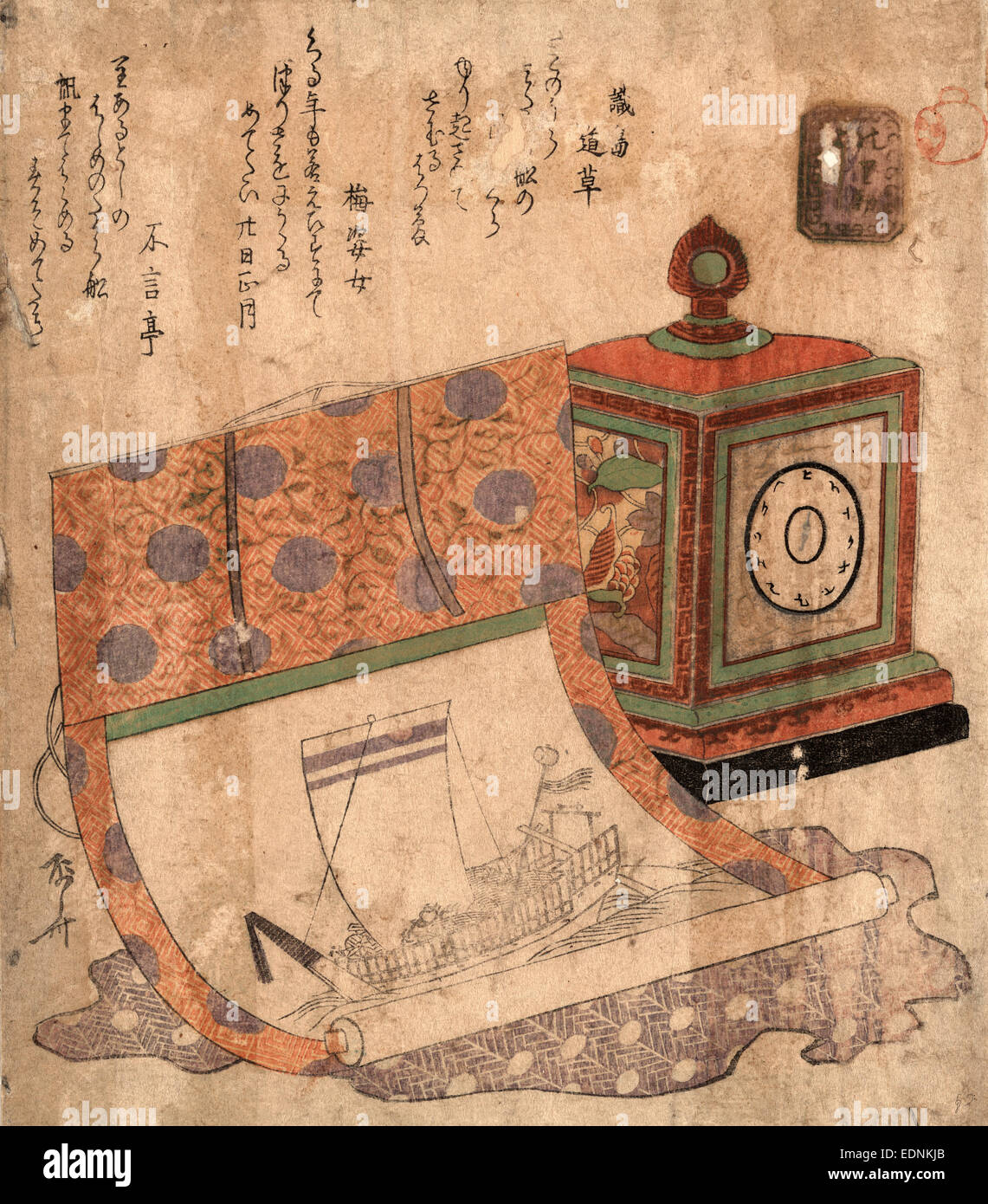 Tokei to takarabune no kakejiku, Painting of a ship of treasures and a western clock., Ryuryukyo, Shinsai, approximately - Stock Image