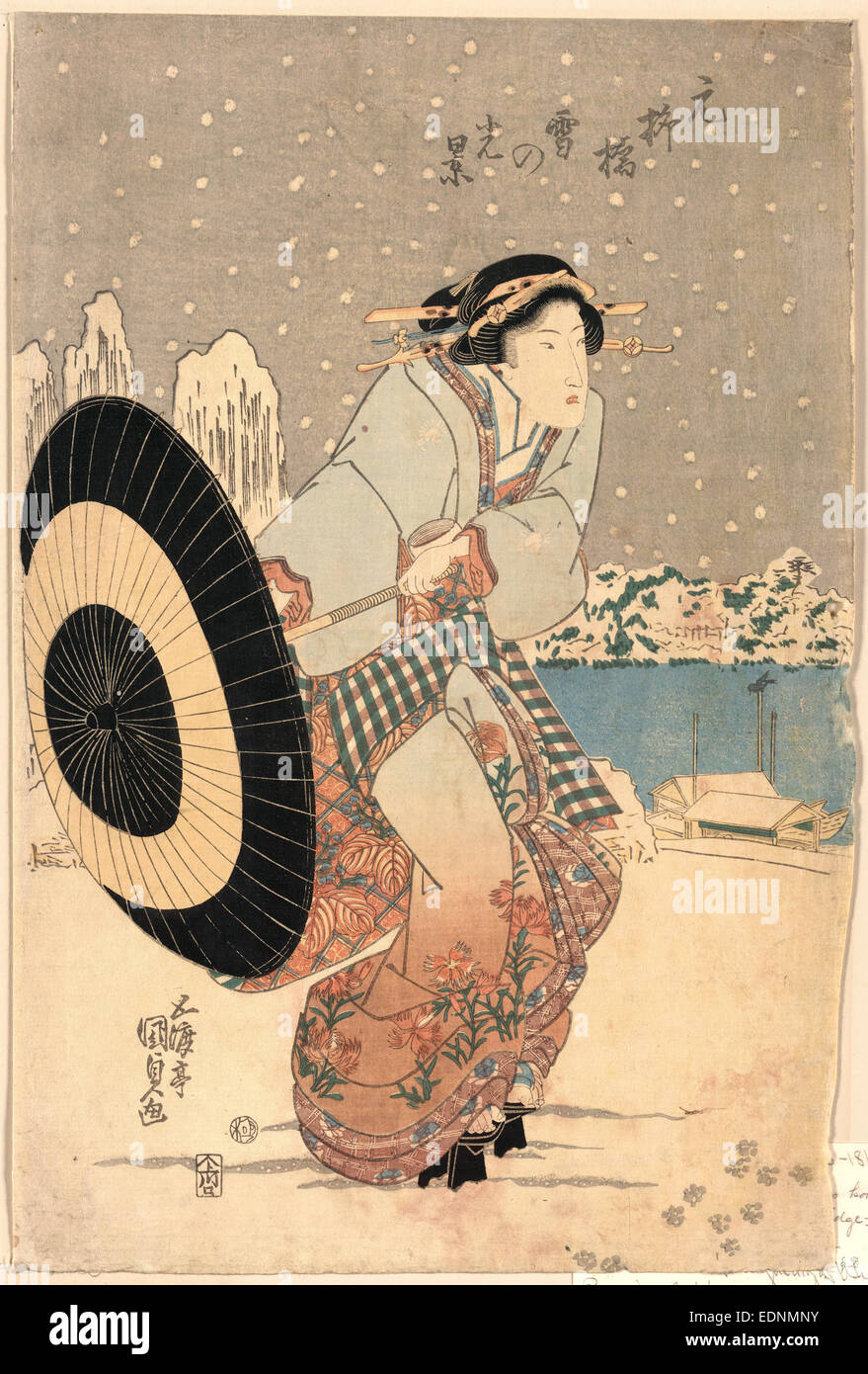 Moto-yanagibashi yuki no kokei, Night snow scene at Motonoyanagi Bridge., Utagawa, Toyokuni, 1786-1865, artist, - Stock Image