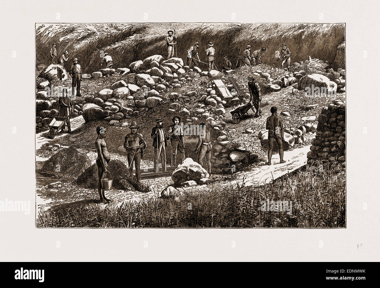 THE TRANSVAAL GOLD FIELDS, SOUTH AFRICA, 1875: DIGGERS AT WORK - Stock Image