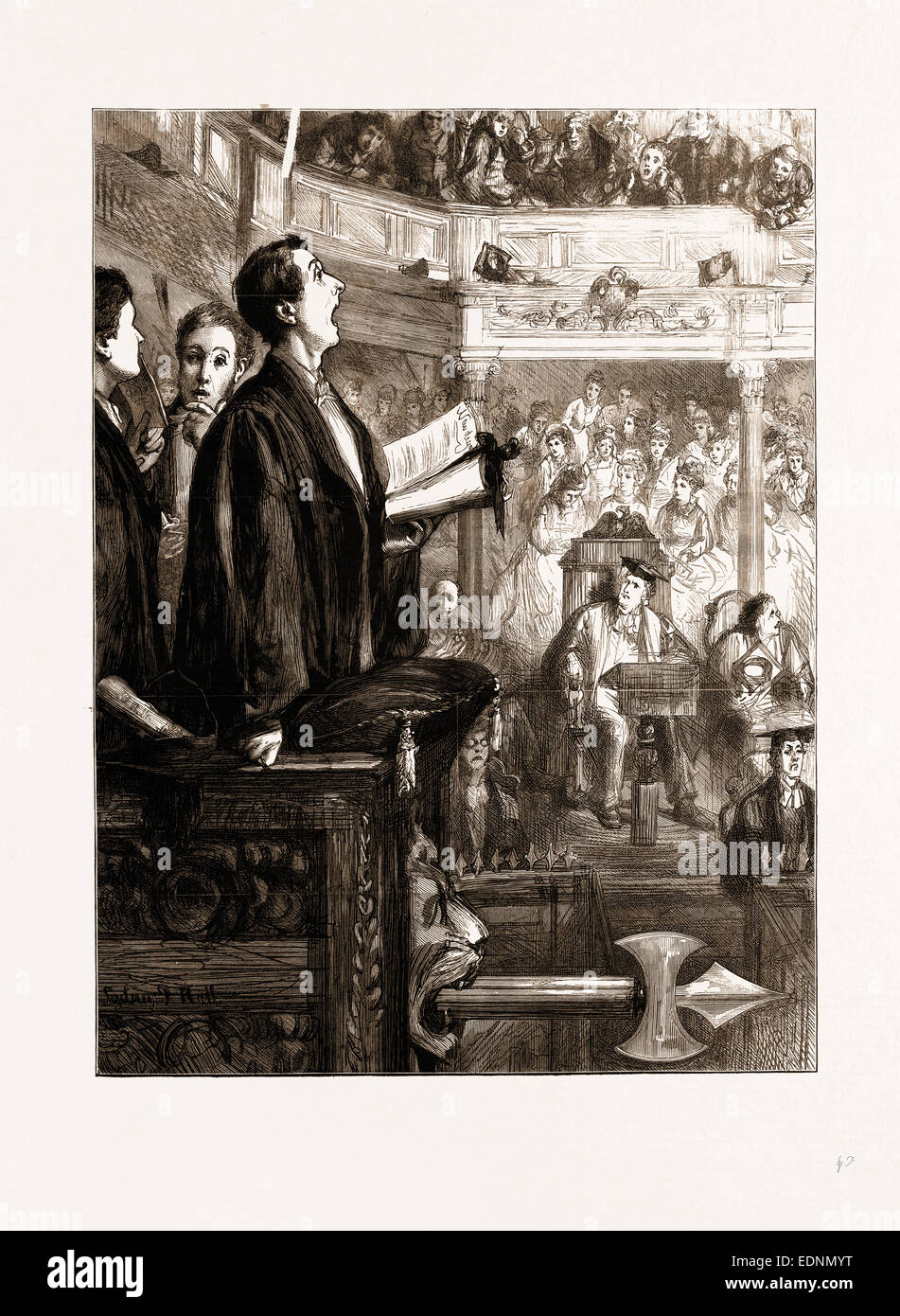 SPEAK UP, SIR! A REMINISCENCE OF OXFORD COMMEMORATION, UK, 1875 - Stock Image