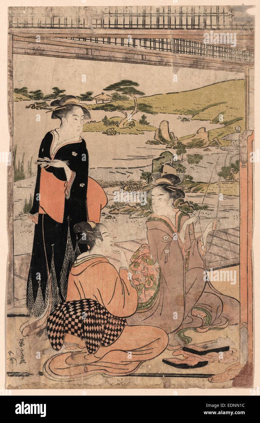 Yokyu, Archery., Hosoda, Eishi, 1756-1829, artist, [between 1787 and 1790], 1 print : woodcut, color ; 37.6 x 24.1 - Stock Image