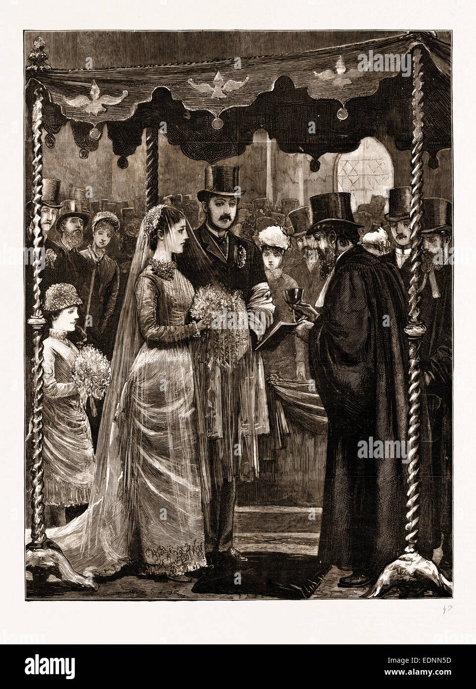 THE MARRIAGE OF MR. LEOPOLD DE ROTHSCHILD AND MDLLE. MARIE PERUGIA IN THE CENTRAL SYNAGOGUE, GREAT PORTLAND STREET, - Stock Image