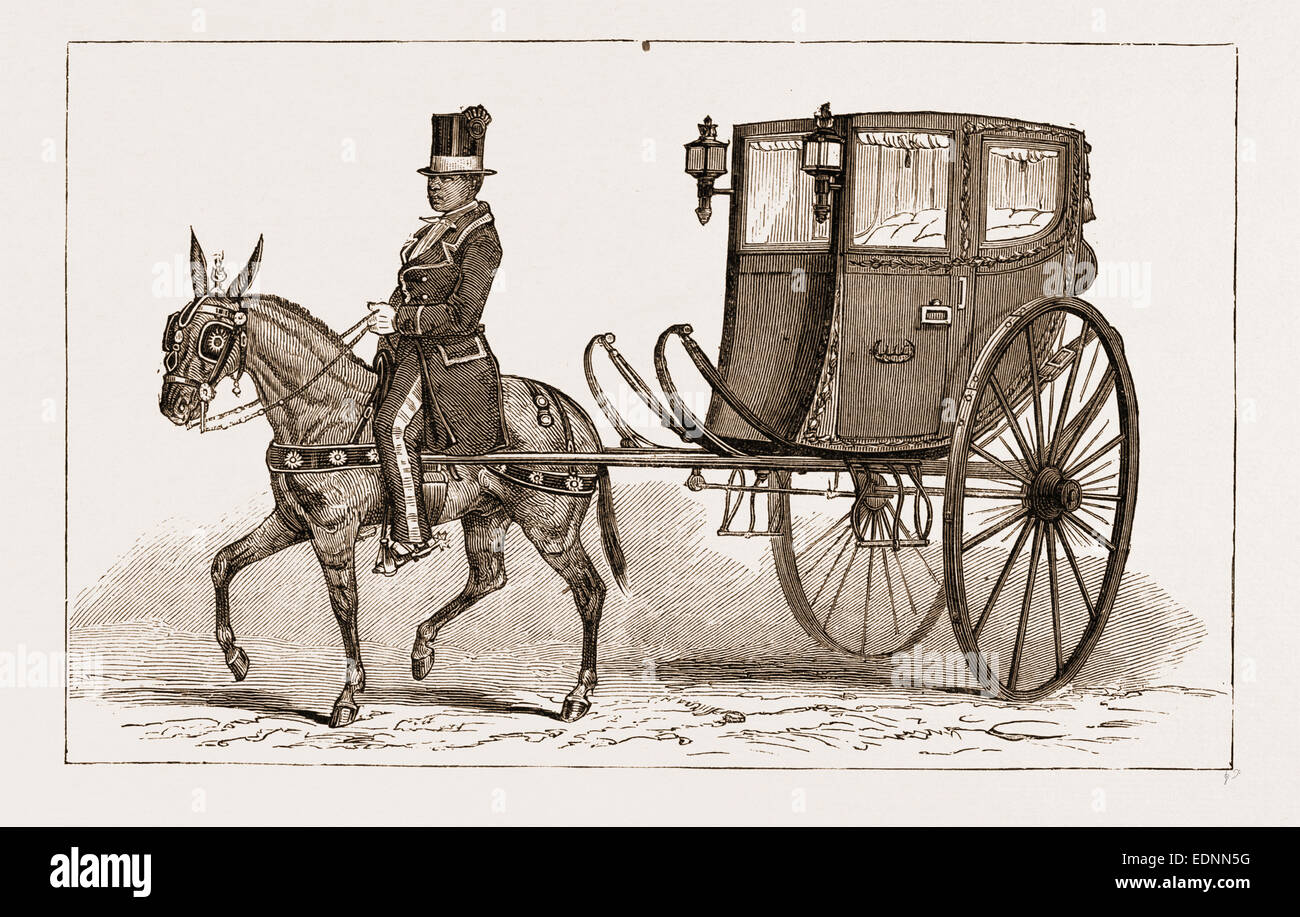 THE 'CALEZA,' OR OLD-FASHIONED CARRIAGE OF THE COUNTRY, LIMA, PERU, 1881 - Stock Image