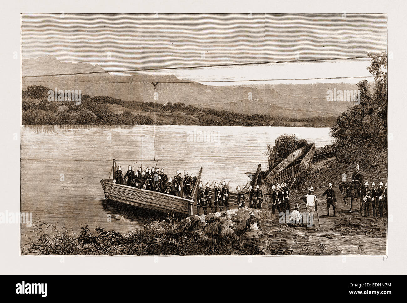 THE REBELLION IN THE TRANSVAAL, SOUTH AFRICA, 1881: TUGELA FERRY ON THE ROAD TO THE BIGGARSBERG Stock Photo