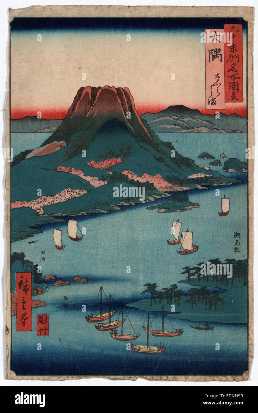 Osumi, Ando, Hiroshige, 1797-1858, artist, 1854., 1 print : woodcut, color ; 35.8 x 23.5 cm., Print shows the volcano - Stock Image