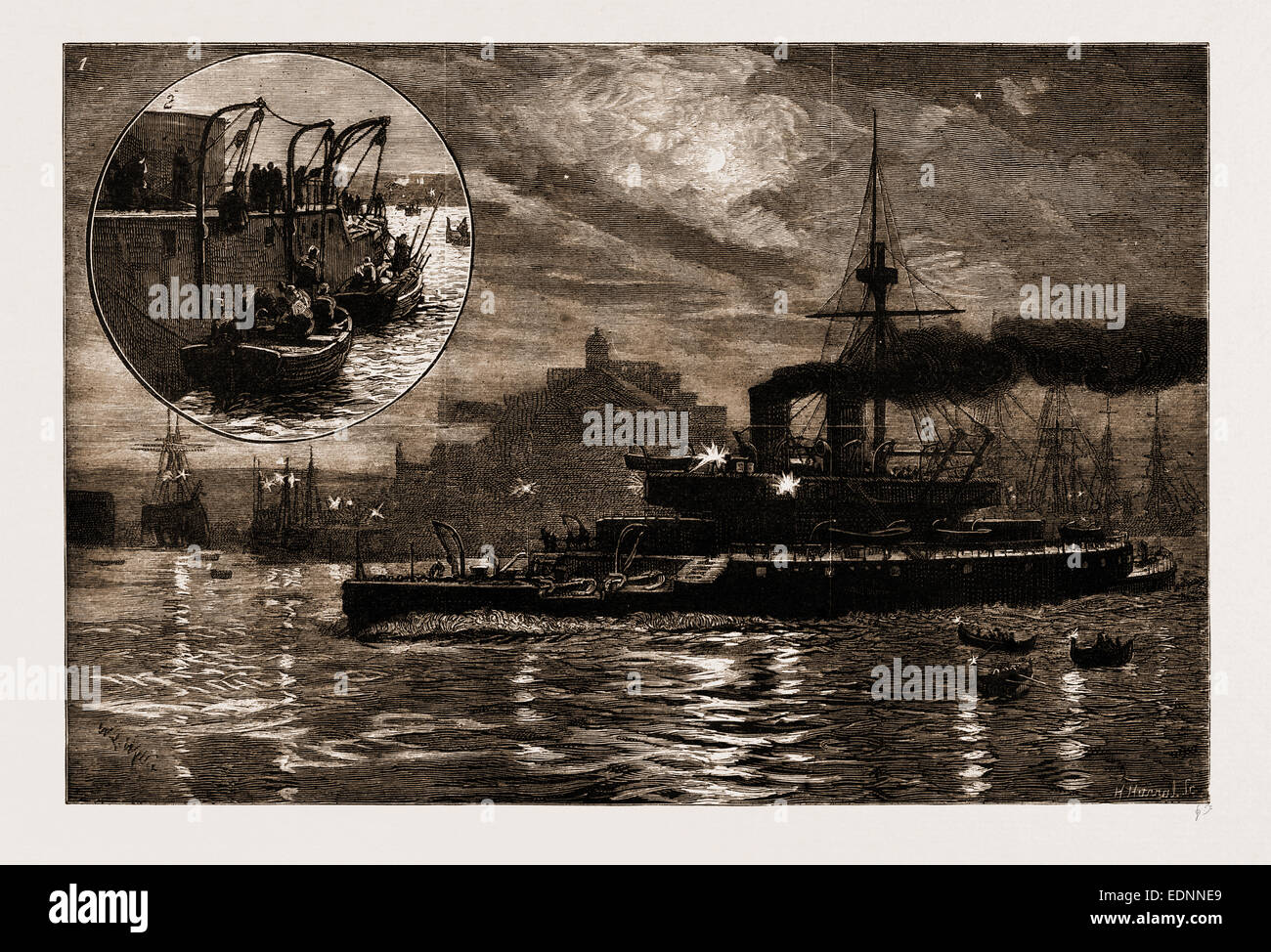 THE RECENT EARTHQUAKES AT SCIO: 1. H.M.S. 'Thunderer' Leaving the Harbour at Malta for Scio. 2. H.M.S. 'Thunderer' - Stock Image