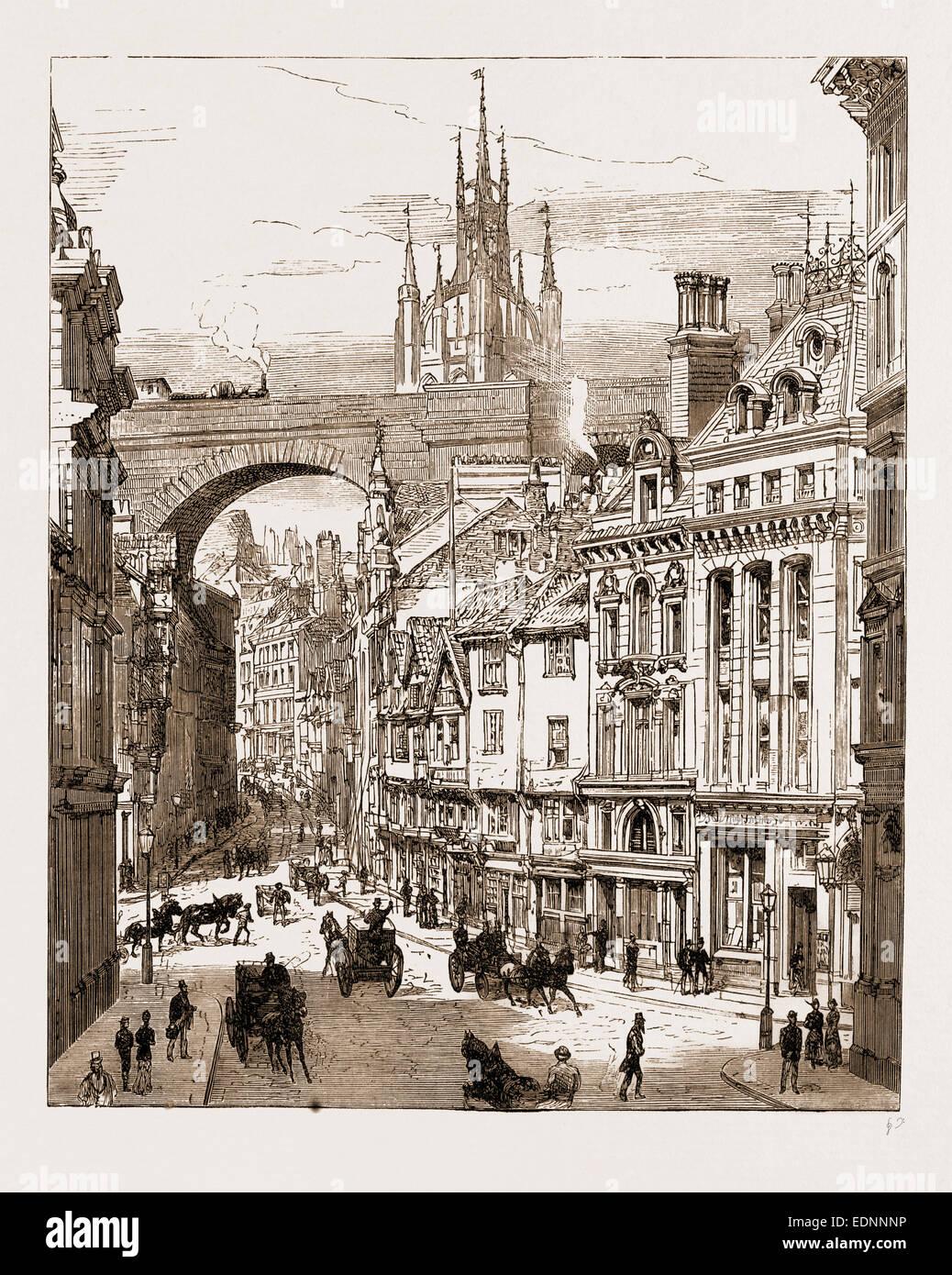 NEWCASTLE, UK, 1881: DEAN STREET - Stock Image