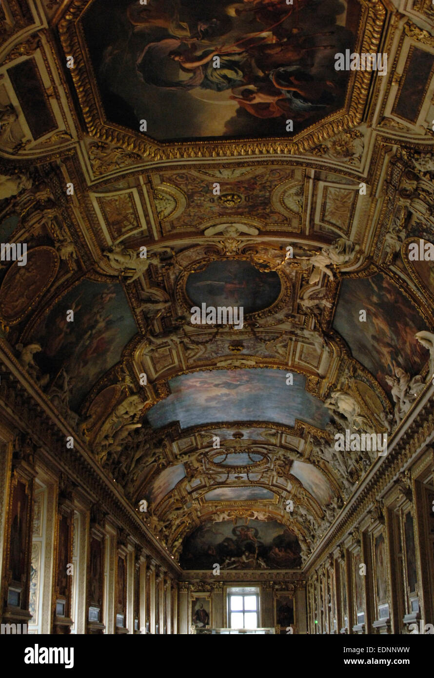 France. Paris. Louvre. Apollo Gallery.  Decorated ceiling. - Stock Image