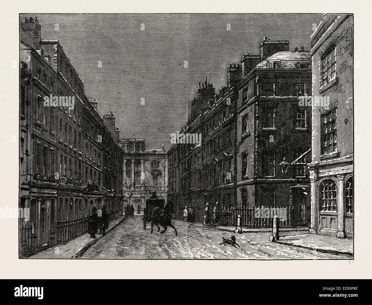 BURY STREET. London, UK, 19th century engraving - Stock Image